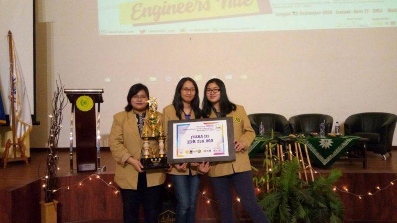 Mahasiswa Teknik Kimia UNPAR Raih Juara ke-3 di Lomba Esai Teknik Kimia UMJ 2018